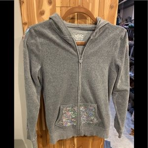 Justice Zip Up Hoodie with Bear Ears and Sparkles